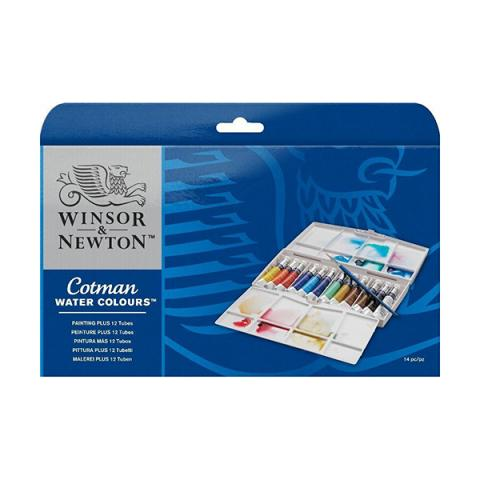 Cotman watercolours painting plus tube set (12 colours)