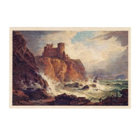 A View of Tantallon Castle with the Bass Rock by Alexander Nasmyth wooden postcard