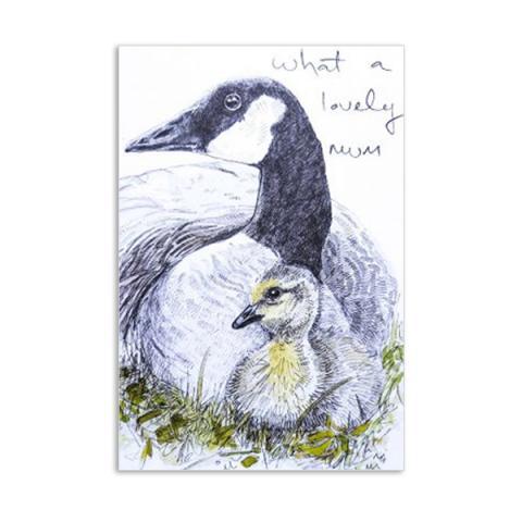 Lovely mum goose by Hannah Longmuir greeting card