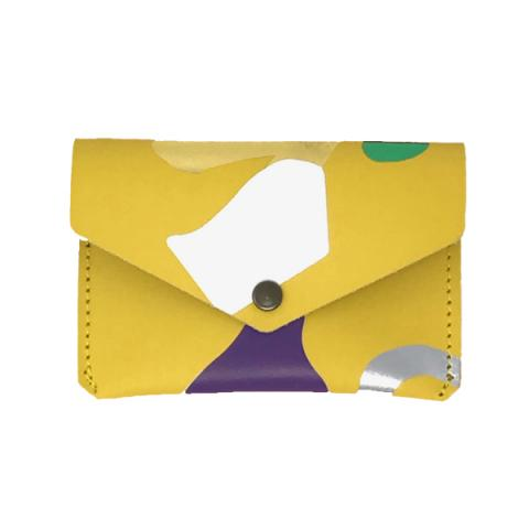 Abstract yellow leather popper coin purse