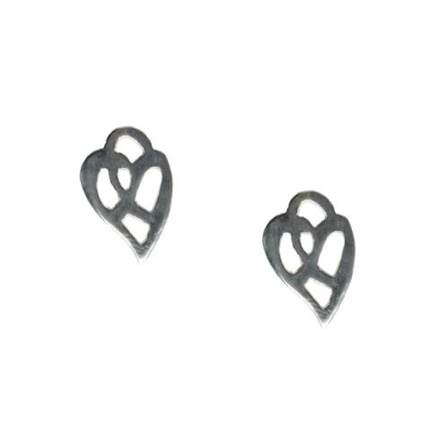 Ae fond kiss...silver heart stud earrings