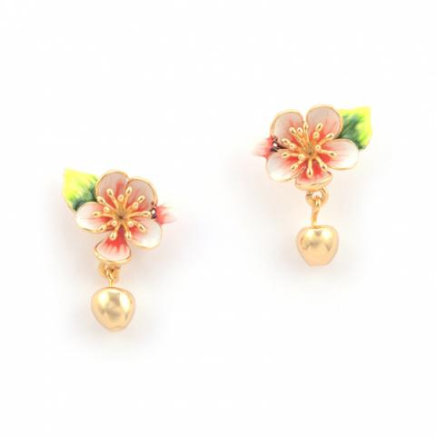 Apple blossom gold plated with hand-painted enamel drop earrings