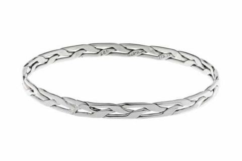 Tianguis Jackson Narrow Plaited Silver Bracelet