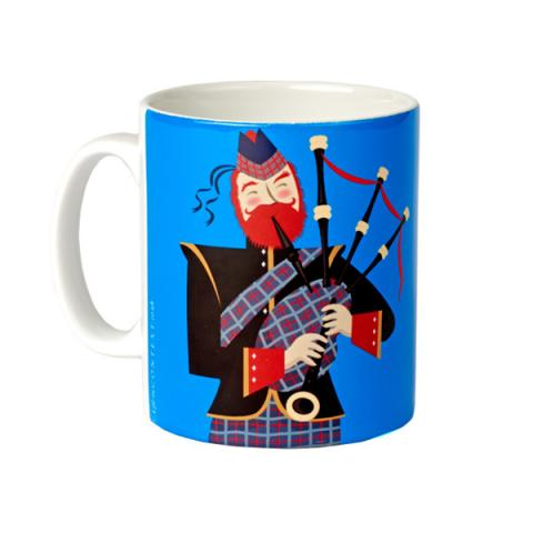 Scottish bagpiper mug (Blue)
