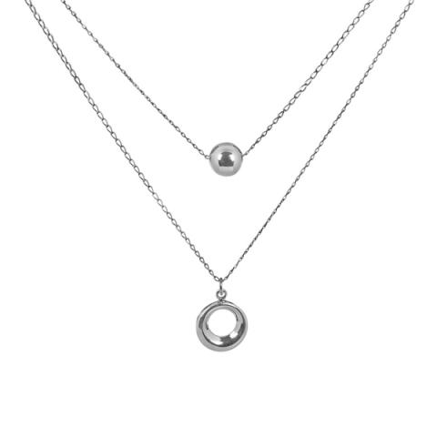 Ball and hoop layered silver necklace