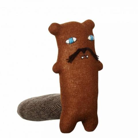 Knitted Carlos beaver creature shaped soft toy
