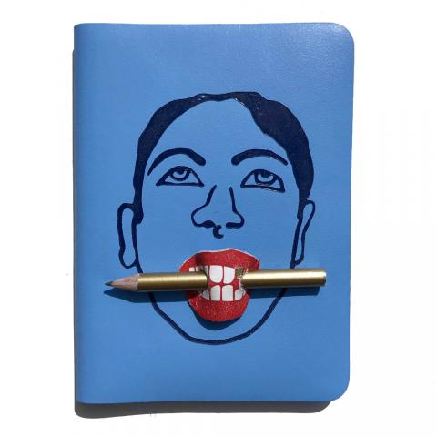 Bite me light blue leather A6 journal with pencil