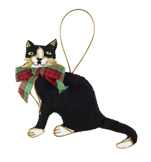 Black and white cat with tartan bow beaded fabric decoration