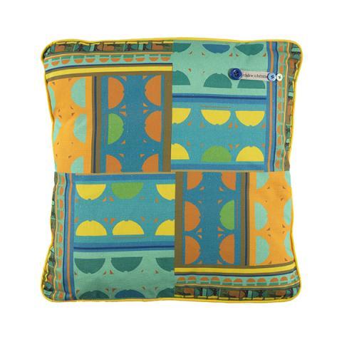 Blue curve pattern handmade cushion