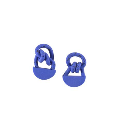 Bright blue knot earrings