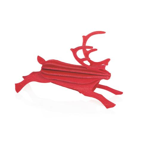 Bright red reindeer wooden flat pack decoration kit (8cm)