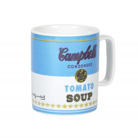 Campbell's Tomato Soup by Andy Warhol blue mug