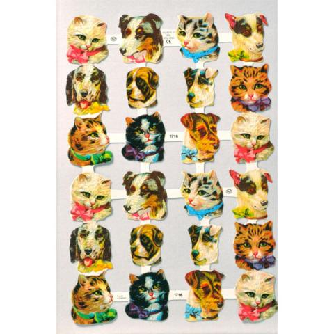 Cats and dogs paper scrap collage sheet
