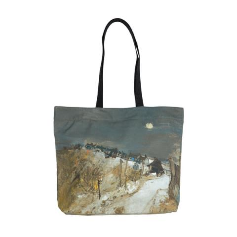 Catterline in Winter by Joan Eardley large canvas reusable tote bag