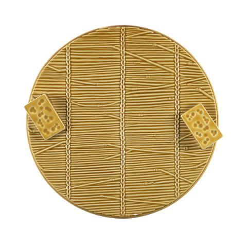 Ceramic yellow cheese plate