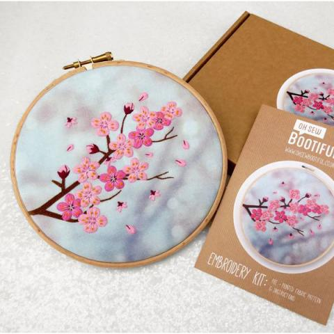 Cherry tree hand embroidery kit