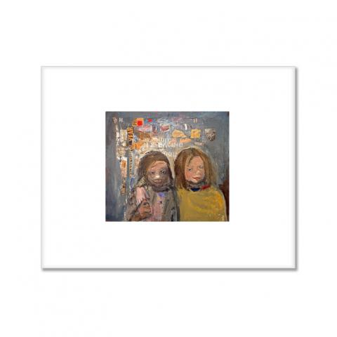 Children and chalked wall 3 by Joan Eardley small (20.5 x 25.5 cm) mounted print