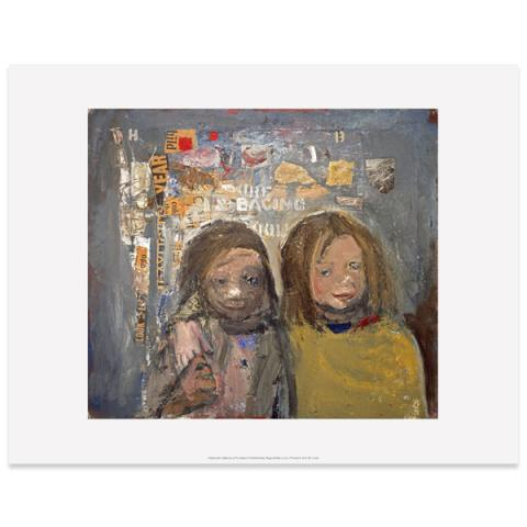 Children and Chalked Wall 3 by Joan Eardley art print