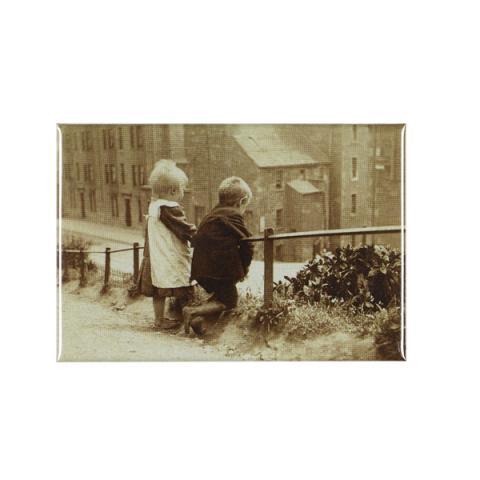 Children leaning on handrail magnet