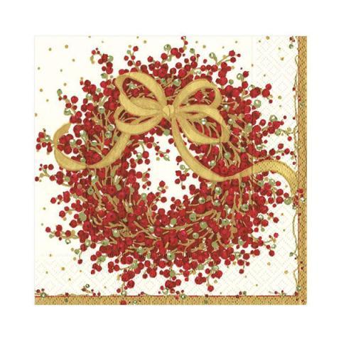 Christmas berry wreath napkin pack (20 napkins)