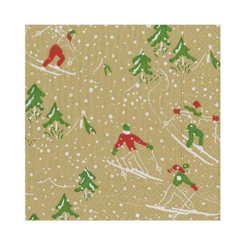 Christmas winter sports gold napkin pack (20 napkins)