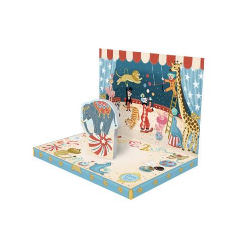 Circus elephant music box greeting card