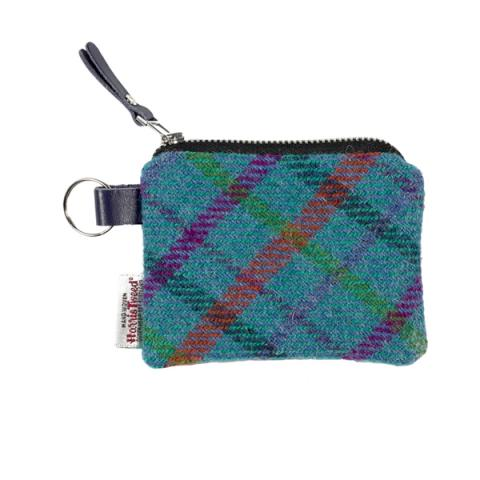 Turquoise checked Harris Tweed coin purse