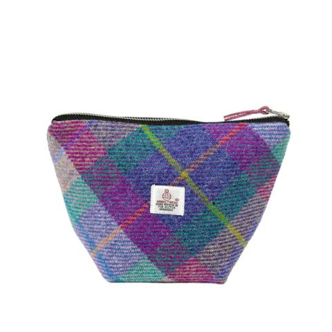Purple and green Harris Tweed small cosmetic bag