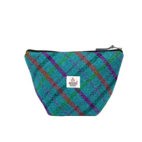 Clare O'Neill Small Cosmetic Bag Turquoise Harris Tweed