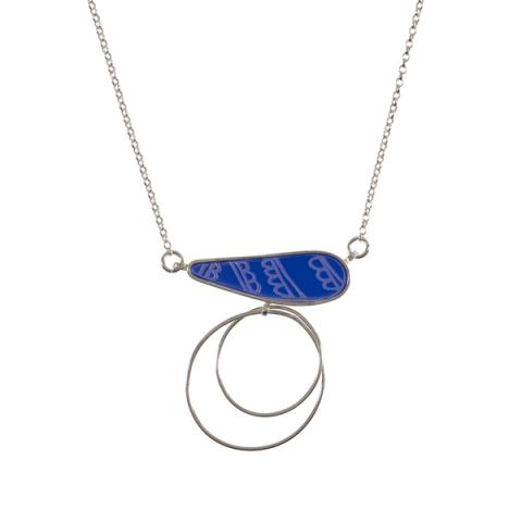Cobalt Beach Pebble acrylic and silver pendant necklace