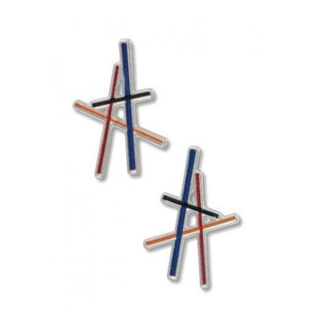 Coloured resonating lines stud earrings