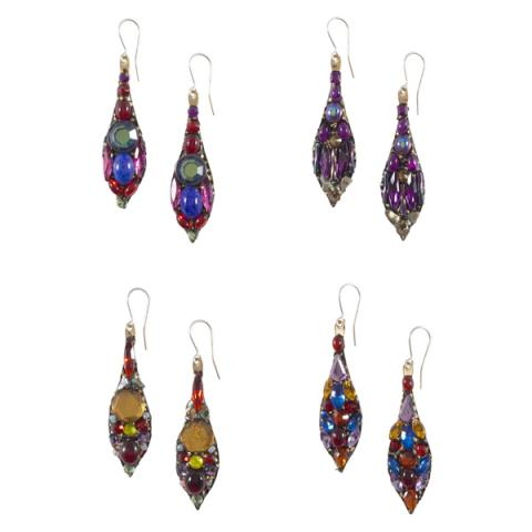 Colourful glass and bead drop earrings