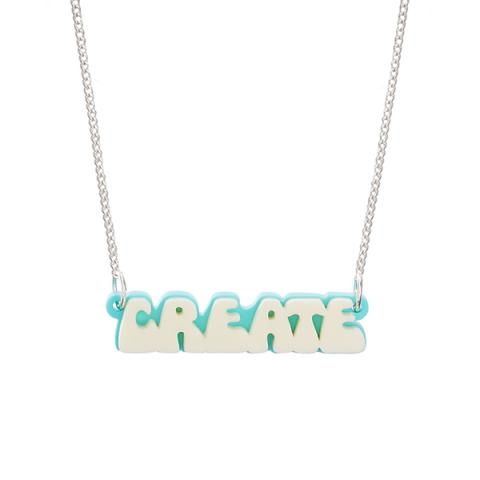 Create retro bubble font acrylic necklace