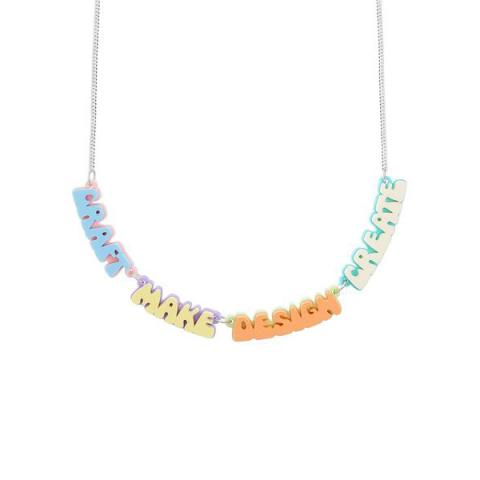Creative words acrylic necklace