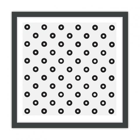 Dilated Centres by Bridget Riley framed print (black)