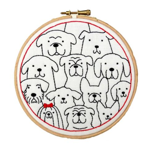 Dogs hand embroidery kit