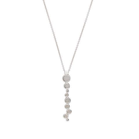 Dots long silver pendant