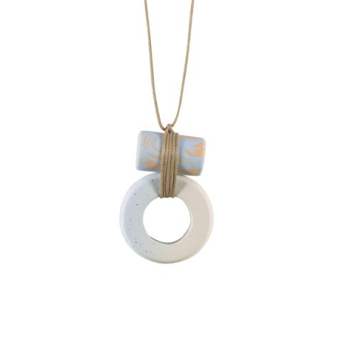 Double Barrel light blue and peach handmade necklace