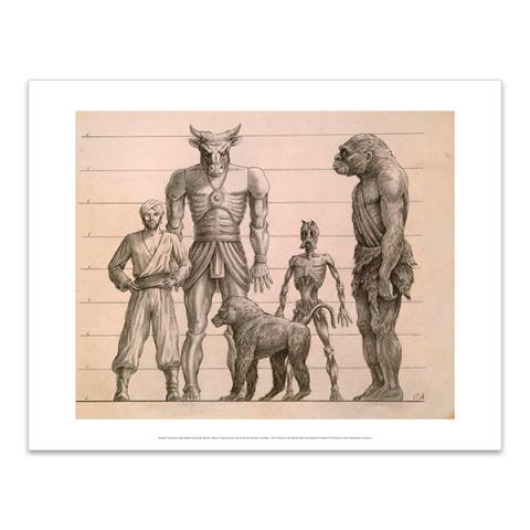 Drawing featuring Sinbad, Minaton, Baboon, Trog and Ghoul art print