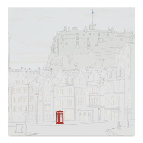Edinburgh castle with phone box greeting card
