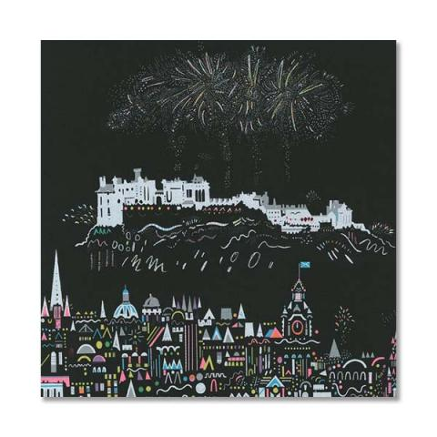 Edinburgh fireworks greeting card