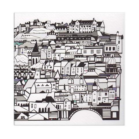 Edinburgh from Stockbridge greeting card