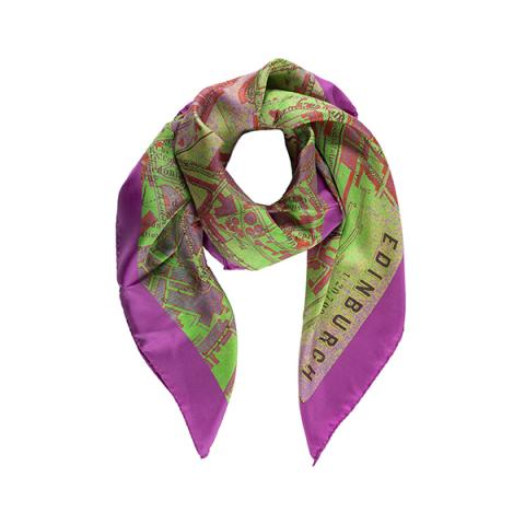 Edinburgh map pink and green silk scarf