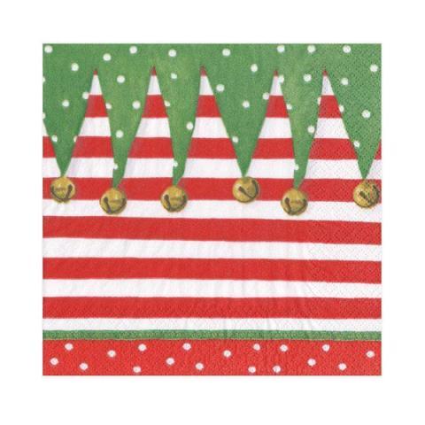 Elf stocking stripe napkin pack (20 napkins)