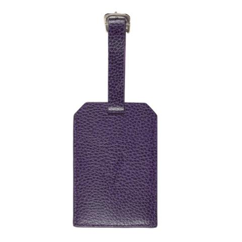 Embossed aubergine purple leather luggage tag