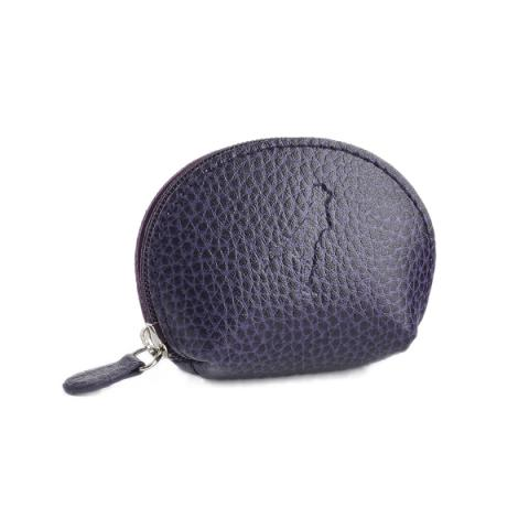 Embossed aubergine purple leather mini purse