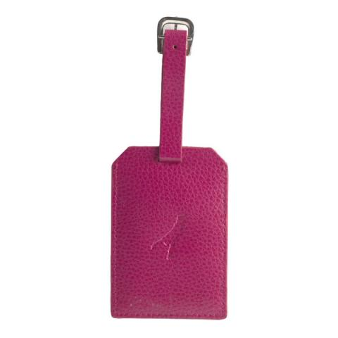 Embossed fuchsia pink leather luggage tag