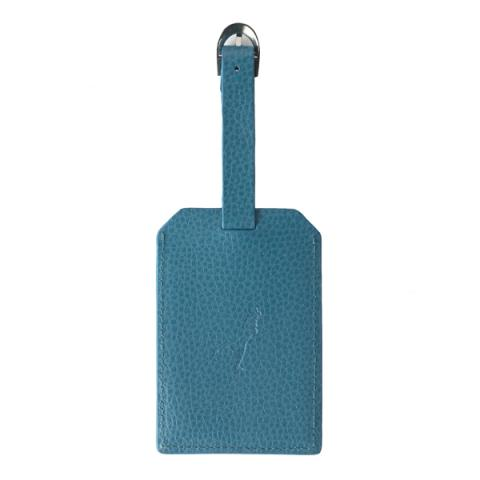 Embossed turquoise leather luggage tag