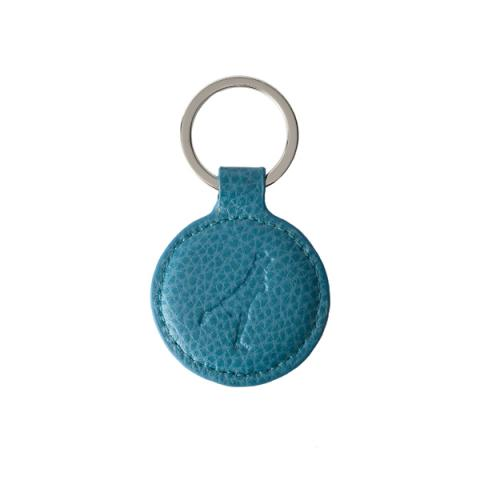 Embossed turquoise leather round key ring