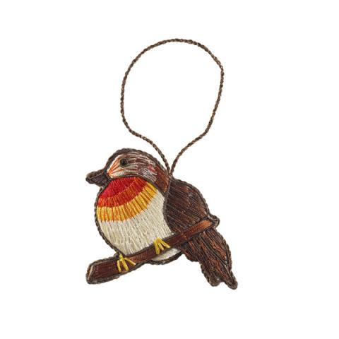 Embroidered Robin fabric decoration